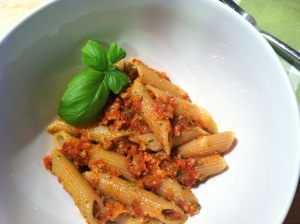 Whole Wheat Penne Pasta with Sun-Dried Tomato Pesto