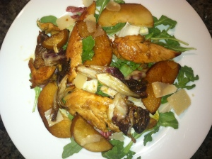 chicken with pears over arugula salad
