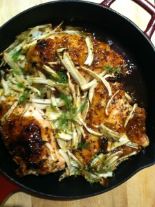 Apricot Glazed Chicken with Fennel