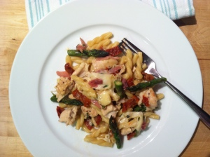 Gemelli Pasta with Chicken, Asparagus, Proscuitto and Sundried tomatoes