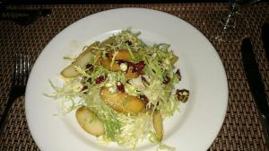 Frisee Salad with walnuts and warm apples