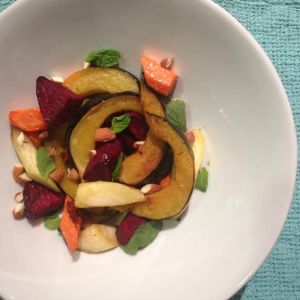 Roasted Root Vegetables with Almonds and Mint