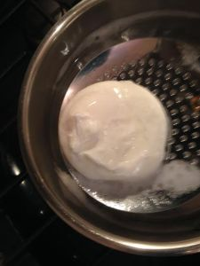 removing poached egg