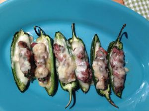 Jalapenos stuffed with sausage and cheese