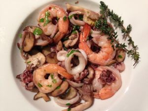 Shrimp and Squid with  a Mushroom Medley