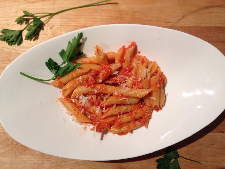Roasted Red Pepper Pesto with Penne Pasta | Yvette's Gourmet Kitchen