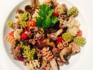 Organic Vegetable Pasta with ground beef, mushrooms and Parmesan Cheese