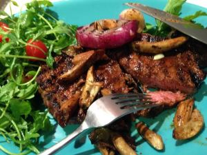 rib eye steak with blue oyster mushrooms