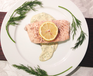 Salmon with dill yogurt sauce photoshop