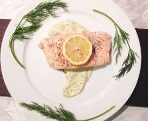 Salmon with dill yogurt sauce photoshop