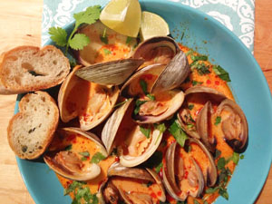 Clams in a Coconut Red Curry & Lemongrass Sauce photoshop
