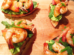 Shrimp Crostino with Avocado Spread