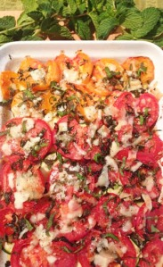 Summer Vegetables Baked with 3 cheeses photoshop
