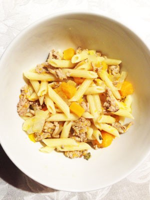 Ground Turket with Butternut Squash and Penne Pasta photoshop