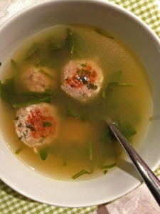 Spinach Soup with Turkey Meatballs photoshop