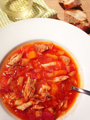 Chicken Vegetable Stew in bowl photoshop