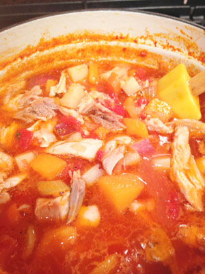 Chicken Vegetable Stew in pot photoshop
