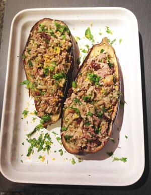 Eggplant Stuffed with Lamb Raisins and fresh herbs