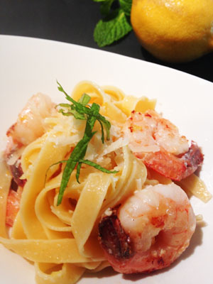Lemon Tagliatelle with Garlic Shrimp photoshop
