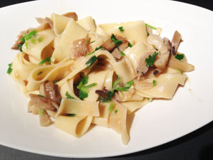 Pappardelle Pasta with a Creamy Oyster Brie Sauce