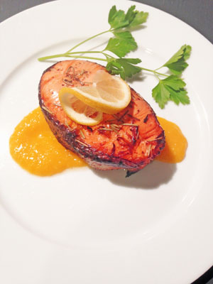 Salmon Steak with Mango Puree photoshop