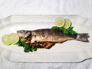 Crabmeat Stuffed Branzino photoshop