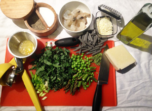Pasta Primavera ingredients photoshop