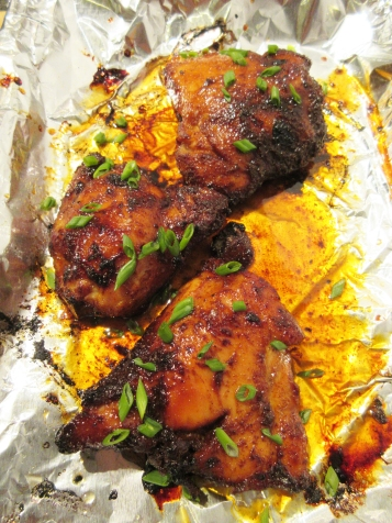 Bkaed Spicy Chicken Thighs with Honey Glaze out of the oven