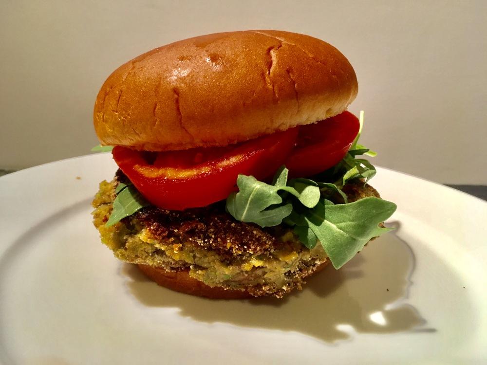 cooked lentil burger