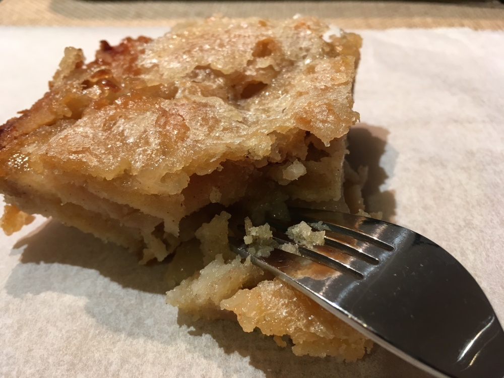 apple yogurt cake fork in cake