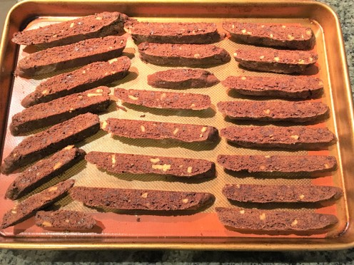 chocolate biscotti after first bake