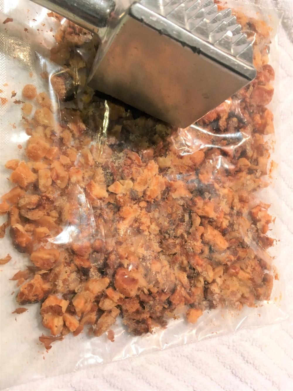 chocolate biscotti crushing walnuts
