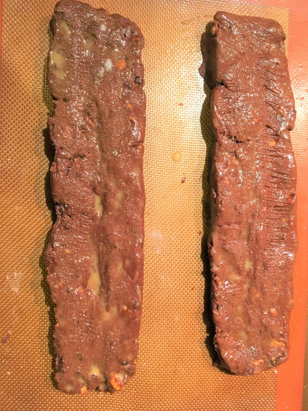 chocolate biscotti raw dough