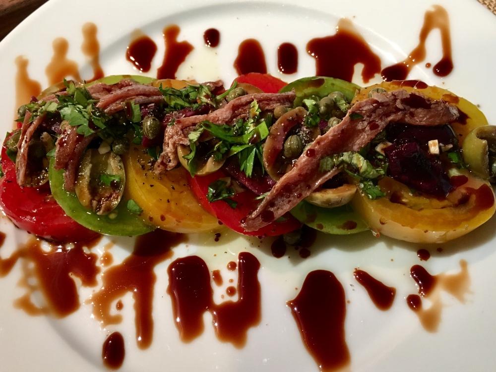 mediterranean salad sliced upclose